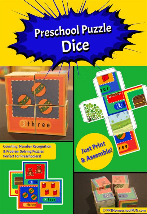 free printable puzzle dice for preschoolers pk1homeschoolfun 268 | promo