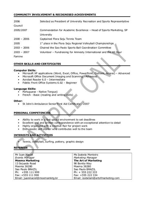 Sporting Achievements On Resume by Cv Sle