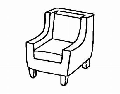 Coloring Armchair Comfortable Chair Bookcase Coloringcrew Colorear