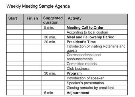 guide  weekly meeting agenda   templates