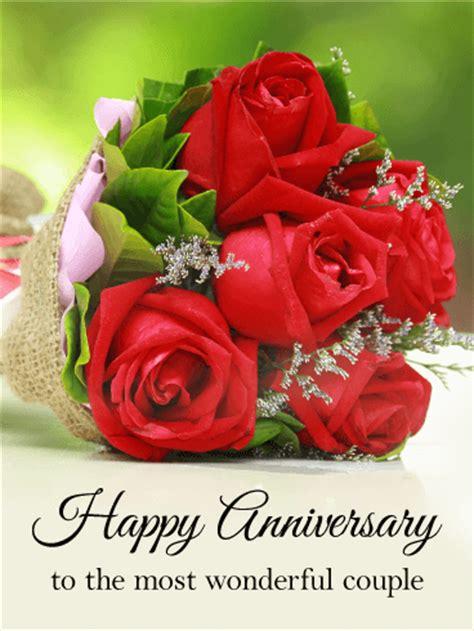 wonderful couple happy anniversary card