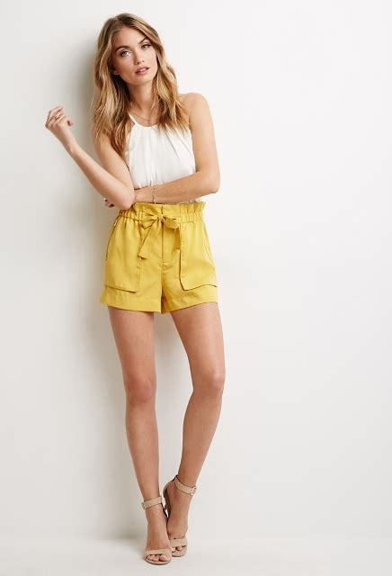 paper bag waist shorts outfits   styleoholic