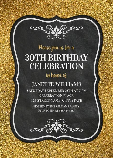 Glitter Adult 30th Birthday Party Invitations Chalkboard