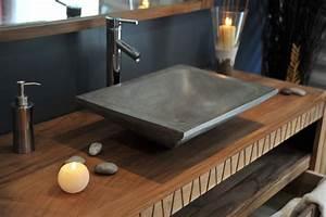 quelle couleur pour la vasque de la salle de bain With salle de bain design avec vasque en pierre à poser salle de bain