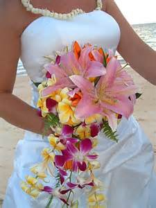 hawaiian wedding flowers gazer flowers and white lilies