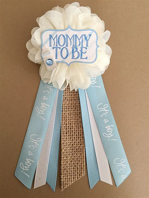 Baby Shower Pins For Corsages Shabby Chic Blue Baby Shower To Be Flower Ribbon
