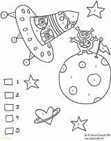 Coloring Alien Number Space Sheets Monster Solar System sketch template