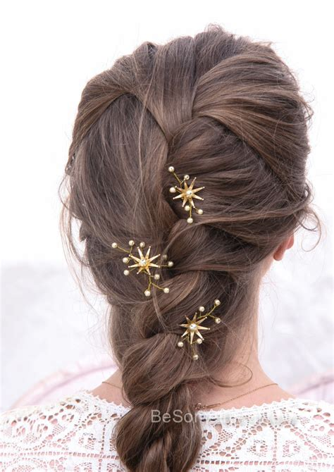 Wedding Hair Pins Star Flower and Champagne Pearl Bridal