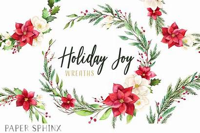 Wreath Clipart Holiday Floral Poinsettia Couronne Noel
