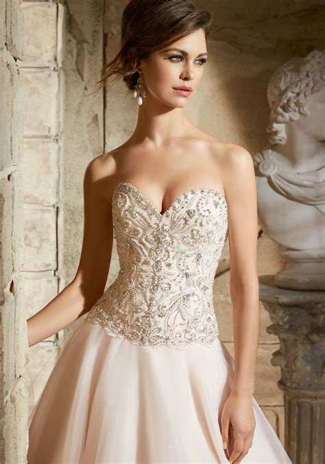 crystal beaded embroidery  tulle morilee bridal wedding