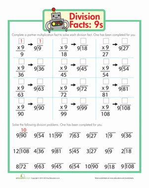 division facts  images division worksheets