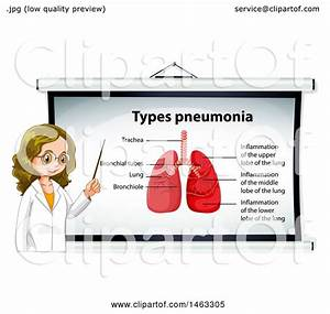 Clipart Of A Female Doctor By A Medical Diagram Of Lungs