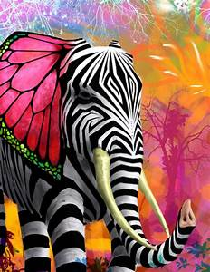 Colorful zebra-striped elephant with butterfly wing ears ...