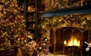 christmas tree next to the fireplace wallpaper 16233
