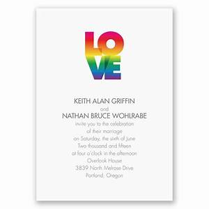 rainbow love invitation invitations by dawn With gay wedding invitations samples