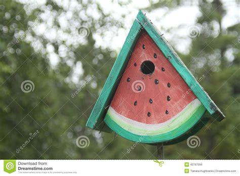 birdhouse shaped  watermelon slice stock photo image