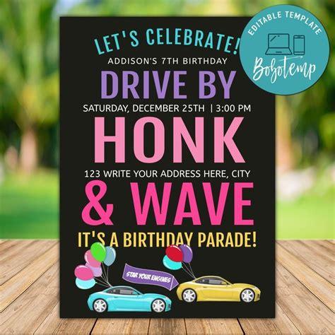printable drive  honk  wave pink car parade