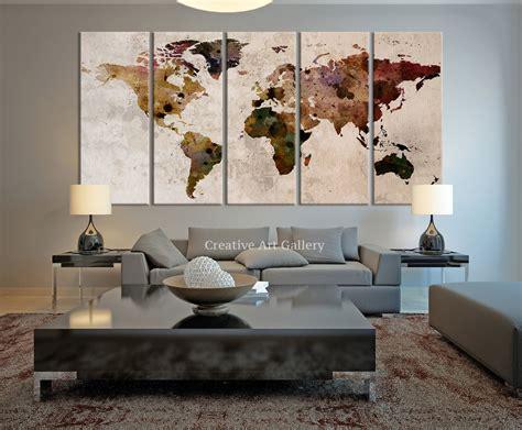big wall decor world map large canvas print rustic world by extralargewallart