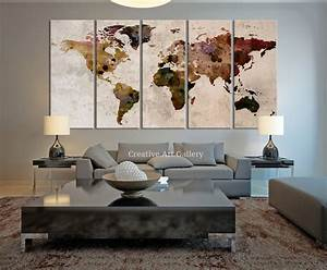 Large canvas print rustic world map wall art