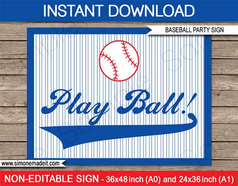 baseball template printable baseball backdrops and signs decorations