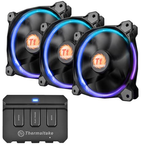 best static pressure rgb fans thermaltake riing 12 120mm rgb led fans 3x fans