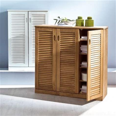 meuble cuisine persienne meuble de rangement 2 portes persiennes en pin massif