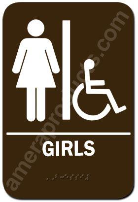 girls handicap  restroom sign     braille
