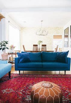 love  blue sofa   red persian rug living