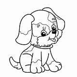 Outline Dog Coloring Cartoon Vector Illustration sketch template