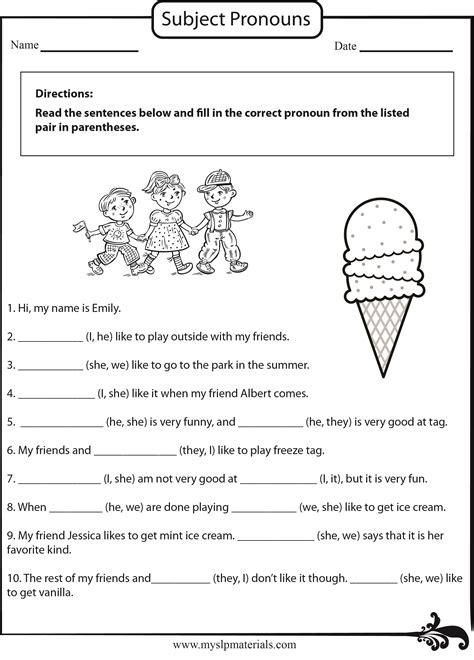 subject pronoun worksheets for grade 2 free printables