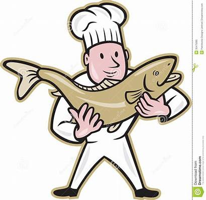 Fish Salmon Standing Handling Chef Trout Cook