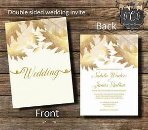 gold wedding invitation gold leaves invitationfall With gold leaf wedding invitations diy