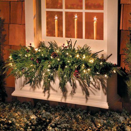 lighted natural  window box christmas swag
