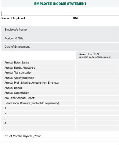 employee statement form 8 sle employee statement forms sle templates