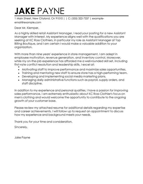 Cover Letter For Assistant Property Manager by Outstanding Retail Assistant Manager Cover Letter Exles