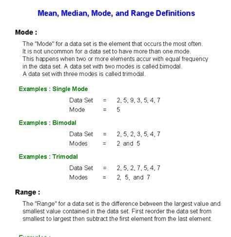 mode median worksheets  mode median  range