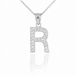 diamond letter r pendant necklace in 9ct white gold gold With letter pendant necklace white gold