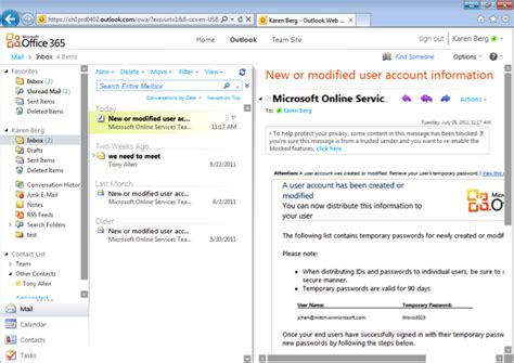 Office 365 Outlook Inbox by Getting Started With Office 365 Part 2 Biztech Magazine