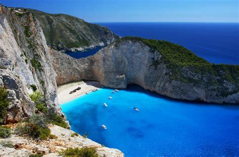 The Navagio Beach In Zakynthos Greece