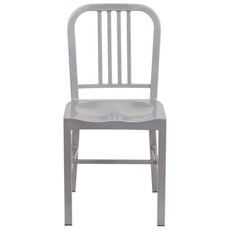 k 196 li industrial silver galvanized side chair metal