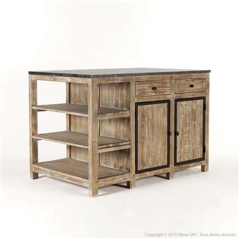 meuble central de cuisine ilot central de cuisine en bois et marbre longueur 145cm