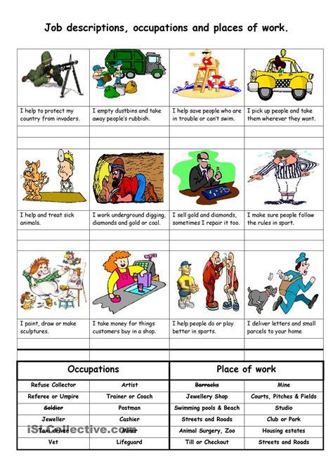 Job Descriptions , Occupations And Places Of Work  School  Job Description, English Lessons