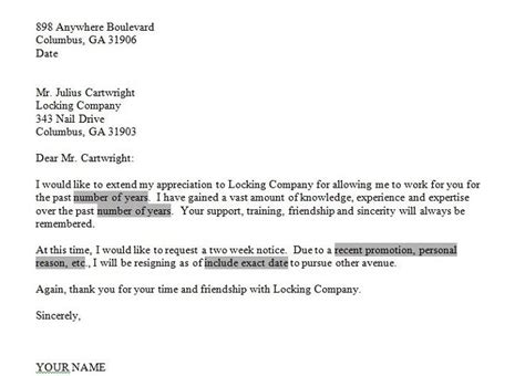 2 week notice letter for work free resignation letter two weeks notice letters 49904
