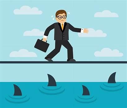 Risks Software End Risk Tightrope Furcht Businessman