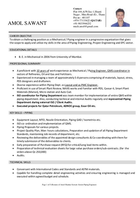 Piping Engineer Resume Objective by Amol Sawant Piping Engineer With 10 Years Experience Docx