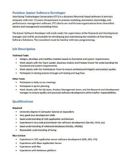Junior Software Developer Resume Exles by Sle Software Developer Resume 9 Exles In Word Pdf