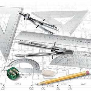 Architectural background with drawing tools and technical ...