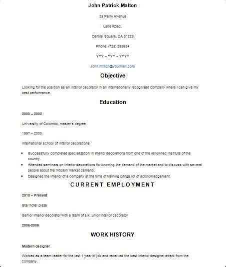 sample basic resume templates  ms word