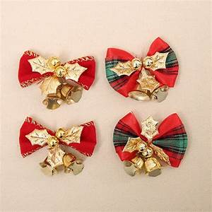 10pcs, Lot, Christmas, Bows, With, Small, Bell, Christmas, Tree, Decorations, Garland, Decor, Xmas, Gift, Bow