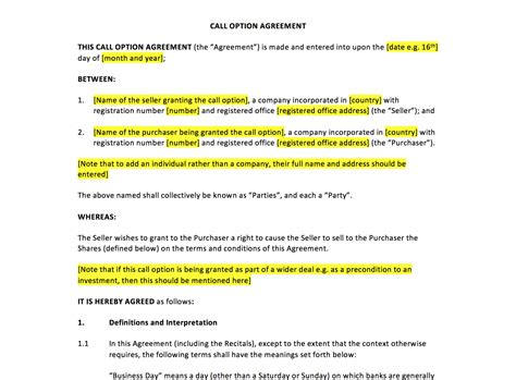 call option agreement template uk template agreements